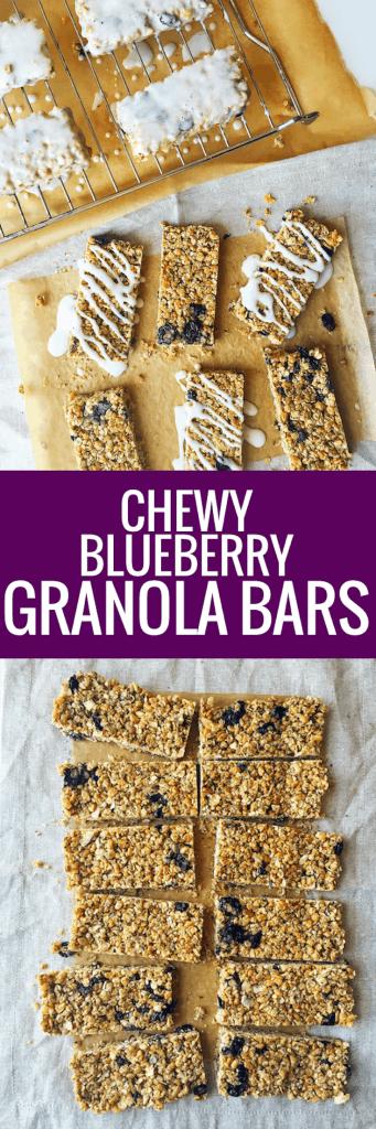 The Best Blueberry Granola Bars with Greek Yogurt Drizzle
